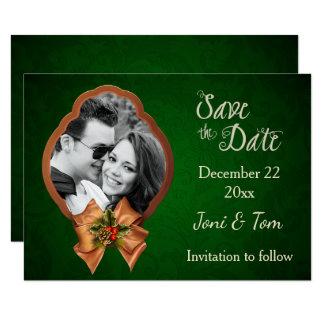 Christmas Wedding Photo Save the Date 9 Cm X 13 Cm Invitation Card