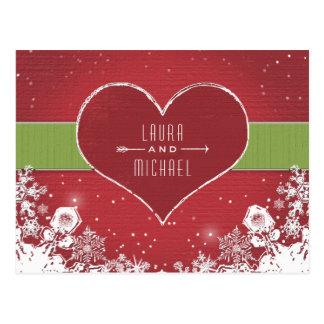 Christmas Wedding RSVP PostCard Snowflake & Heart