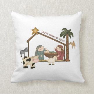 Christmas whimsical manger scene pillow