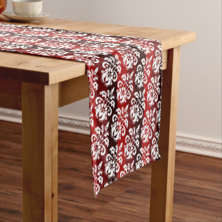 Christmas white damask on red stripes short table runner