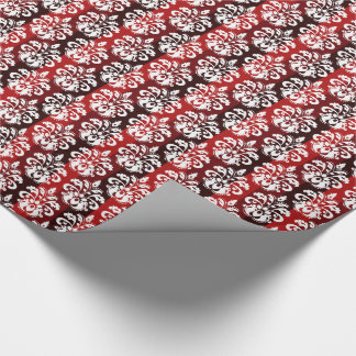 Christmas white damask on red stripes wrapping paper