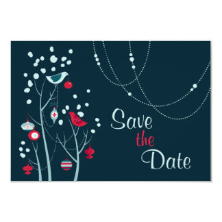 Christmas Winter Birds Wedding Save the Date Card