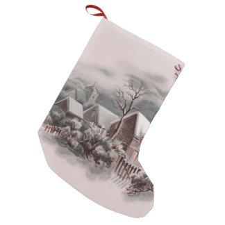 christmas winter scene small christmas stocking