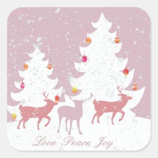 Christmas Woodland Square Stickers