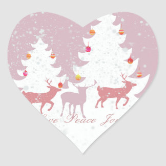 Christmas Woodland Heart Sticker