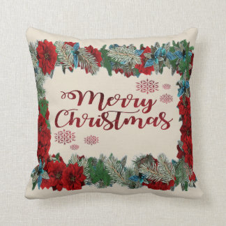 Christmas Wreath and Snowflakes Holiday Pillow