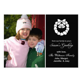 Christmas Wreath Card Season s Greetings Black Personalized Announcement