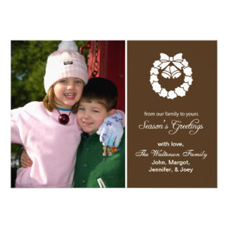 Christmas Wreath Card Season s Greetings Brown Personalized Announcements