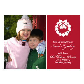 Christmas Wreath Card Season s Greetings Burgandy Personalized Invites
