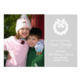 Christmas Wreath Card Season s Greetings Silver Personalized Invite