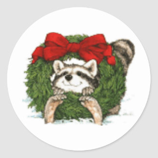Christmas Wreath Decoration And Raccoon Classic Round Sticker