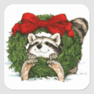 Christmas Wreath Decoration And Raccoon Square Sticker