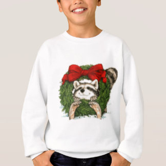 Christmas Wreath Decoration and Raccoon Sweatshirt