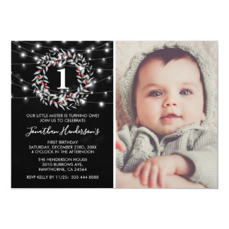 Christmas Wreath Photo Winter First Birthday Party Card