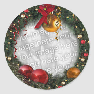 Christmas Wreath with your Photo Classic Round Sticker