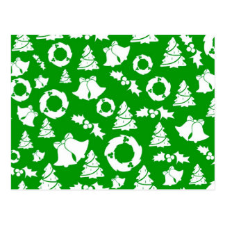 Christmas Wreaths, Trees & Bells Postcard