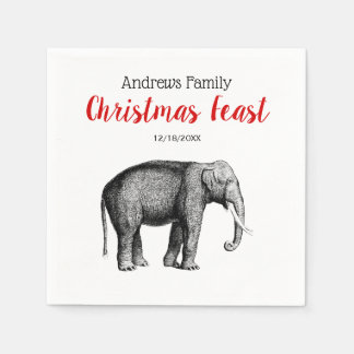 Christmas Xmas Vintage Elephant Drawing Disposable Napkin