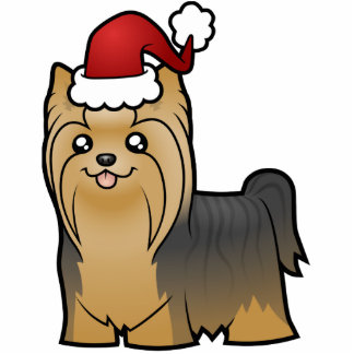 Christmas Yorkshire Terrier (long hair with bow) Photo Cut Out