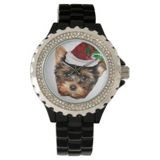 Christmas Yorkshire Terrier Rhinestone wristwatch