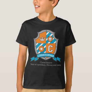 Christopher boys C name & meaning crest shield T-Shirt