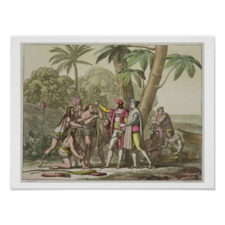 Christopher Columbus (1451-1506) with Native Ameri Poster