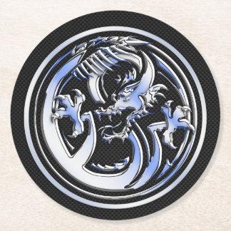 Chrome Dragon Crest dark Carbon Fiber Print Round Paper Coaster