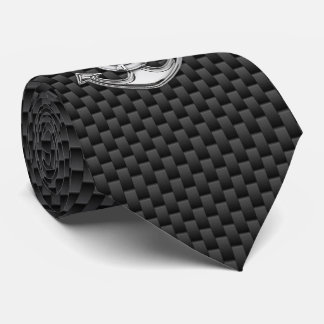 Chrome Lifesaver Anchor on Carbon Fiber print Tie