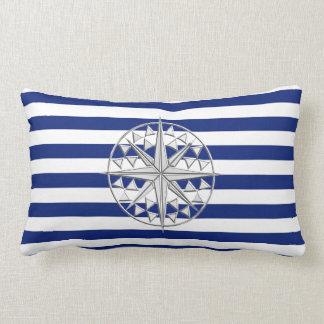 Chrome Like Compass on Nautical Stripes Lumbar Pillow