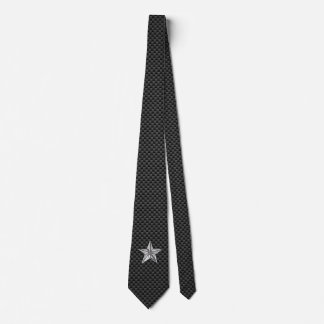 Chrome like Nautical Star on Carbon Fiber style Tie
