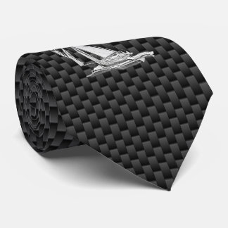 Chrome like Sailboat on Carbon Fiber style print Tie