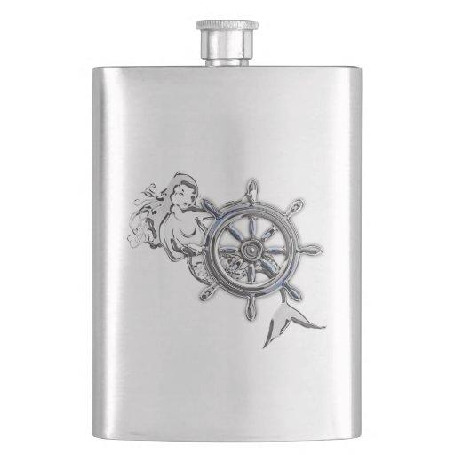 Chrome Mermaid Nautical Print Hip Flask