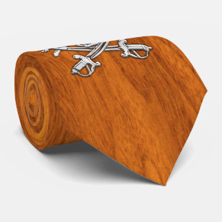 Chrome Pirate on nautical Teak Veneer print Tie