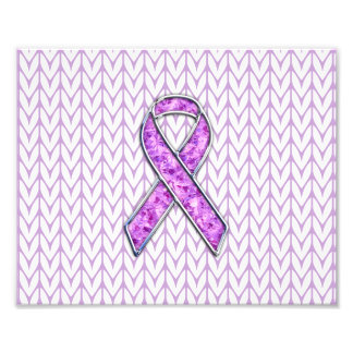 Chrome Style Crystal Pink Ribbon Awareness Knit Photo Print