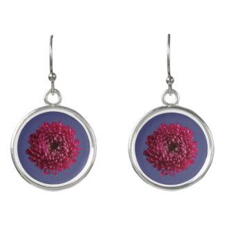 Chrysanthemum & Blue Earrings