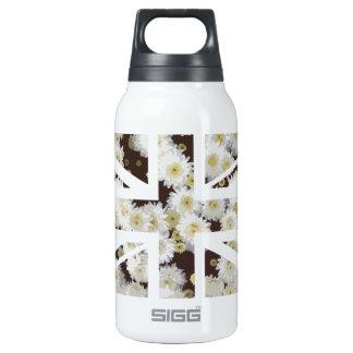 Chrysanthemums Flower Union Jack British(UK) Flag Insulated Water Bottle
