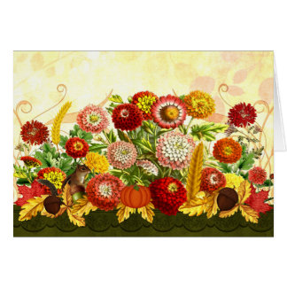 Chrysanthemums with Autumn Theme and Chipmunk Card