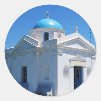 Church in Mykonos Classic Round Sticker