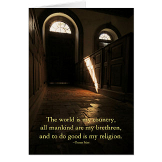 Church Interior Thomas Paine Quotation Note Card