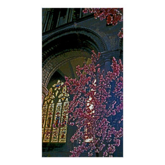 Church Interior with Pink Flowers (1) Posters