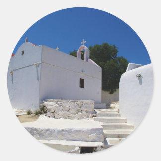 Church of Mykonos Island Greece Classic Round Sticker