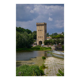 Church on Arno River Poster