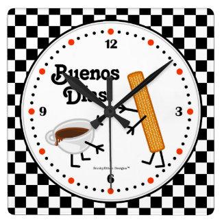 Churro and Chocolate Buenos Dias - Friendly Foods Square Wall Clock