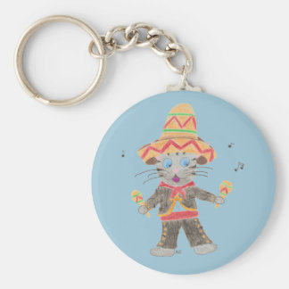 Cinco de Mayo cat mariachi blue button keychain