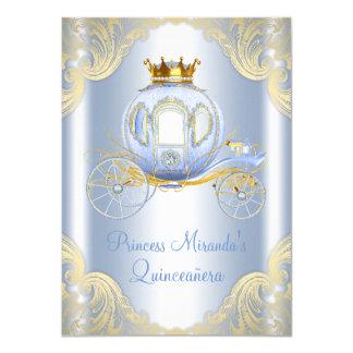 Cinderella Blue Gold Princess Quinceanera 11 Cm X 16 Cm Invitation Card
