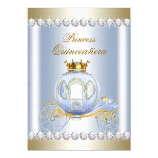Cinderella Blue Princess Quinceanera 11 Cm X 16 Cm Invitation Card