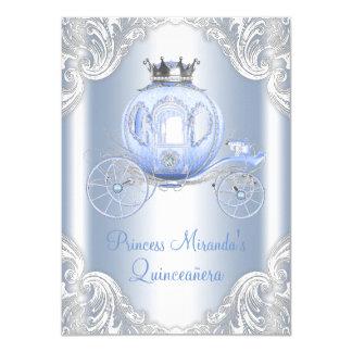 Cinderella Blue Silver Princess Quinceanera 11 Cm X 16 Cm Invitation Card