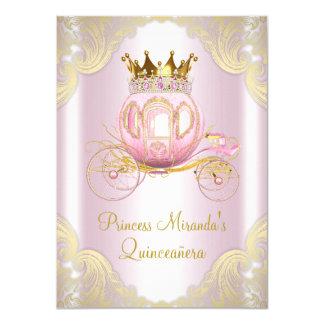 Cinderella Pink Gold Princess Quinceanera 11 Cm X 16 Cm Invitation Card