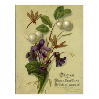 Circa 1881: Snowberries and violets Postcard