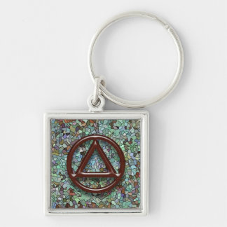 Circle and Triangle AA Recovery Sobriety Keychain