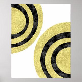 Circle art Modern art Gold foil geometric art Poster